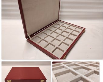 Wooden case garnet red box for coins, medals, minerals, fossils, gems, malacology  Italian velvet