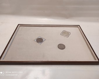 Large tray in walnut wood and velvet White cream Exhibitor for jewelry or other