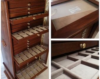 Monetiere 25 Cassetti in vero legno e Velluto Italiano colore a scelta personalizzabile
