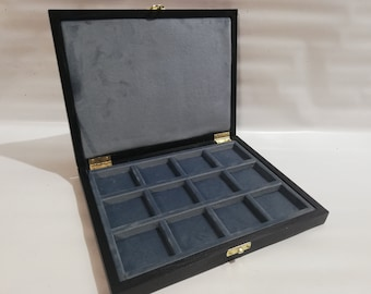 Wooden case box for coins, medals, minerals, fossils, gems, malacology 12 boxes 50x50 mm in Italian velvet BLUE AVION