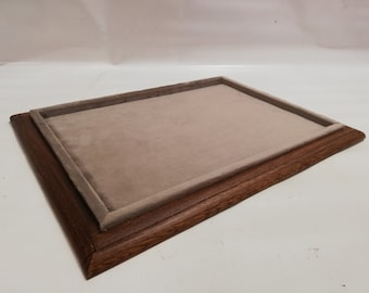 Plateau in wood and velvet tray for jewelry coins medals display CUSTOMIZABLE