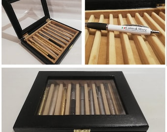 Pen holder box, Wood and velvet case Display for fountain pens, personalized fountain pen showcase pencil box