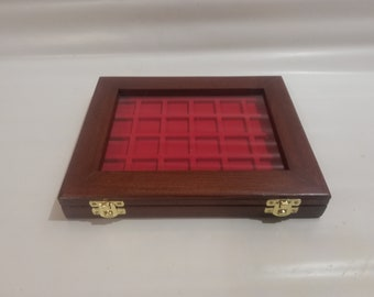 Wooden and plexiglass casket for medal coins, also customizable