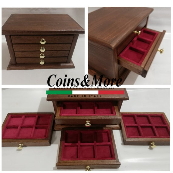 Monetiere LED 5 Drawers Craft Color Walnut COINS /& MORE Coin Cabinet