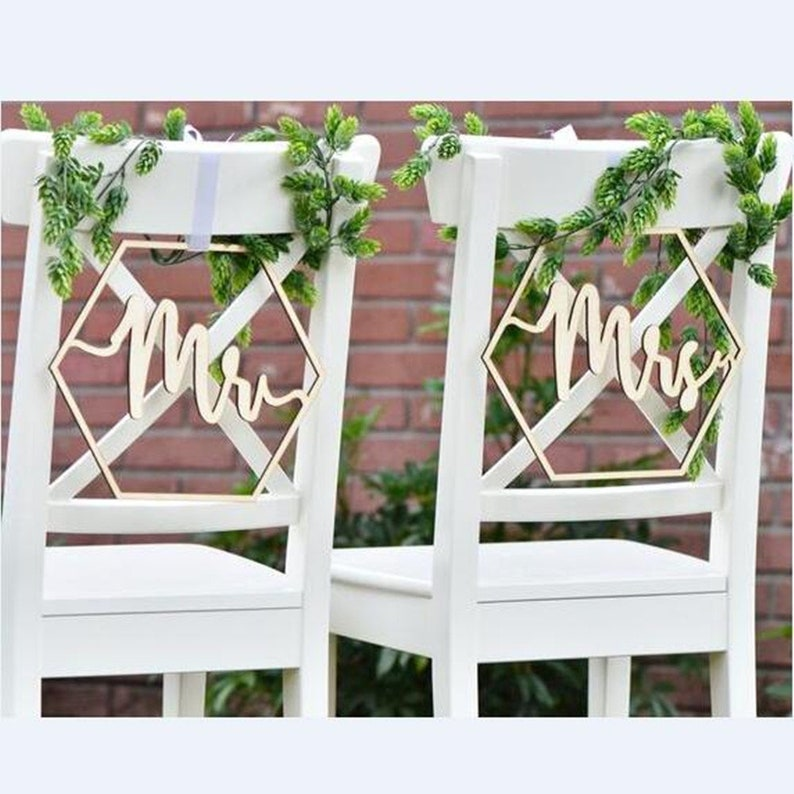 Fabulous Mr Mrs Wedding Chair Signs Laser Cut Wood Wedding Chair Sign Wedding Chair Signs Chair Signs Rustic Wedding Decor Hexagon Chair Sign Pdpeps Interior Chair Design Pdpepsorg