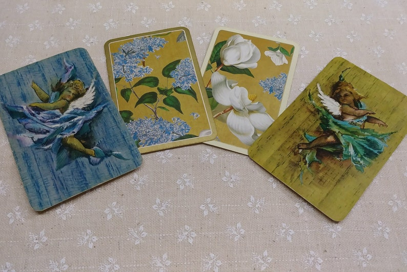 Junk Journal Supply 6 Vintage Floral Playing Cards Vintage Playing Cards Game Ephemera Vintage Paper
