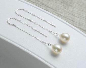 Pearl Threader Earrings, Long Pearl Earrings, Silver Chain Threaders, Long Chain Earrings, Ear Threaders, Sterling, Real Pearl Earrings