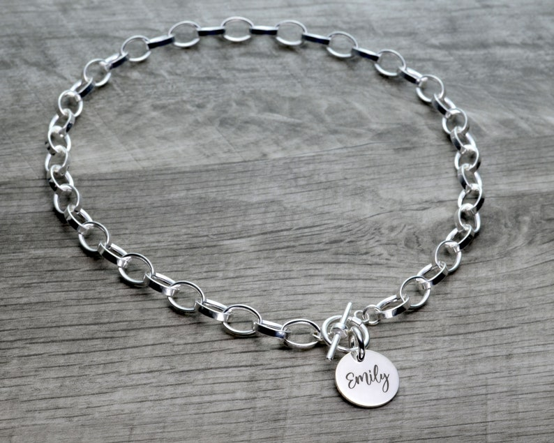 Toggle Clasp Sterling Silver Choker Necklace Statement Necklace Dangling Choker Name Necklace Christmas Necklace Thick Chain Necklace