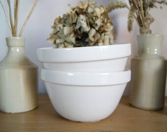 White Ironstone Pudding Bowl, Mason Cash, Antique Mixing Bowl, Vintage Decor