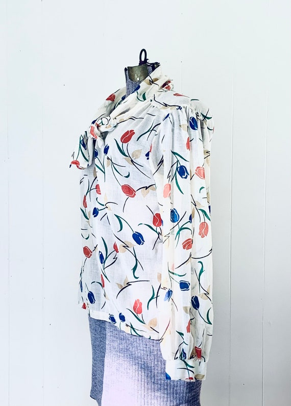 Tulip Print Tie Blouse. Vintage 1970s Land N Sea. - image 3