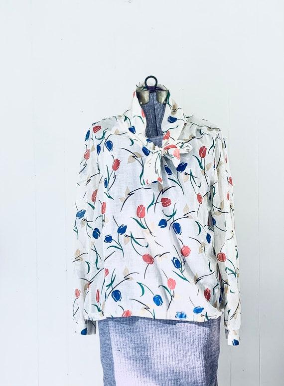 Tulip Print Tie Blouse. Vintage 1970s Land N Sea. - image 1