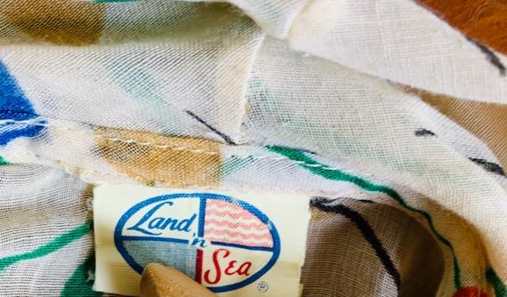 Tulip Print Tie Blouse. Vintage 1970s Land N Sea. - image 4