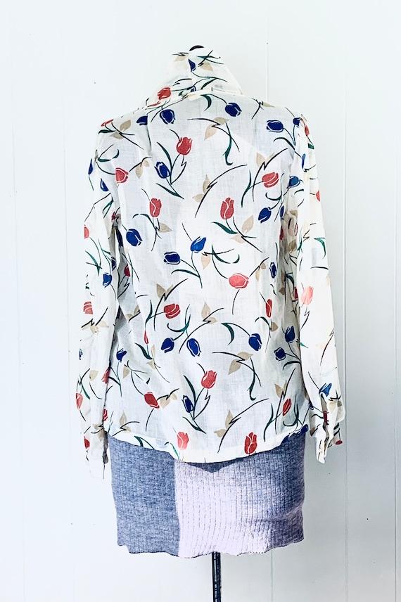 Tulip Print Tie Blouse. Vintage 1970s Land N Sea. - image 2