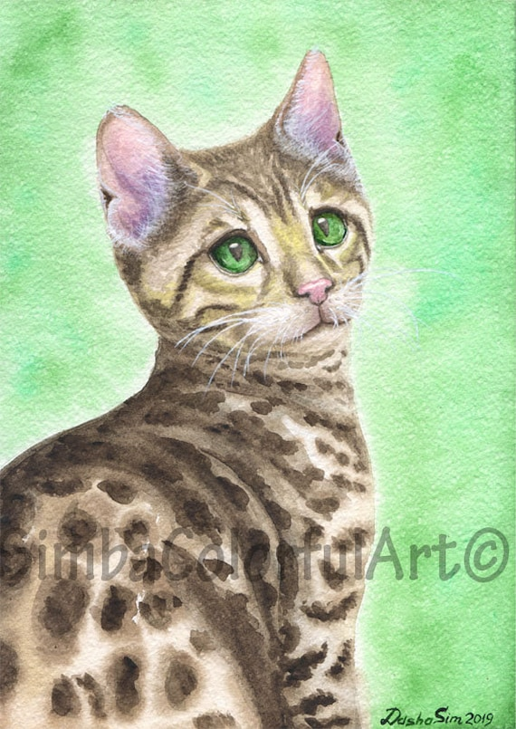 Giclee Print Mau Bengal Cat Watercolor Watercolor Painting Art Pet Portrait
