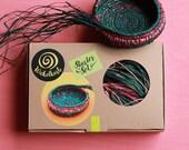 Coil Basket Kit (Forest Flower) DIY Basket Weaving Kit Raffia Basket Craft Kit Green Coil Basket Handmade Basket Kit DIY Set