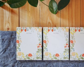 PRE-ORDER Floral Notepad, Flower Grocery List, Floral Notes, Cute Note Pad, Colors of the Summer Garden, Strawberry, Butterfly, Poppy, Bee