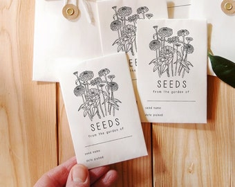 Zinnia Seed Stamp, Custom Seed Packet Stamp, Cut Flowers Seed Stamp, Seed Labeling Stamp, From the Garden Of, Vintage Seed Packet, Zinnias