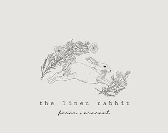 Rabbit Logo, Rabbit with Branches Logo, Pre-made Bunny Logo, Woodland Animals Logo, Rabbit Branding, Oak Leaves, Bunny and Leaves, Wreath
