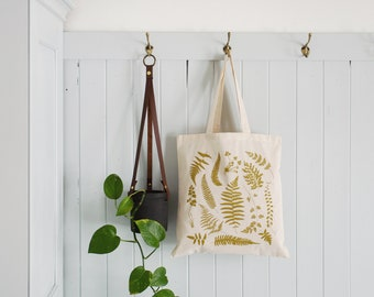 Woodland Ferns, Reusable Grocery Tote, Eco-friendly Market Bag, Fern Canvas Tote, Natural Canvas Grocery Bag, Pretty Fern Pattern, Printed