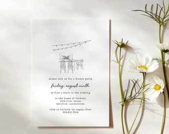 Dinner Party Invitation   Minimalist Dinner Party   Simple Party Invitation   Outdoor Dinner Party   String Lights with Table Setting