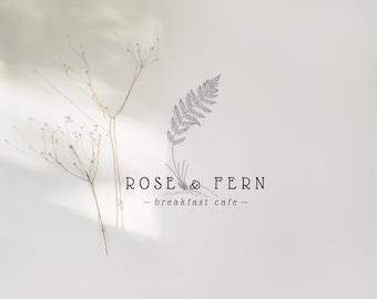 Fern Logo, Woodland Fern Logo, Whimsical Fern Branding, Hand Drawn Fern, Plant with Roots, Greenhouse Logo, Plant Shop Logo, Botanical Logo