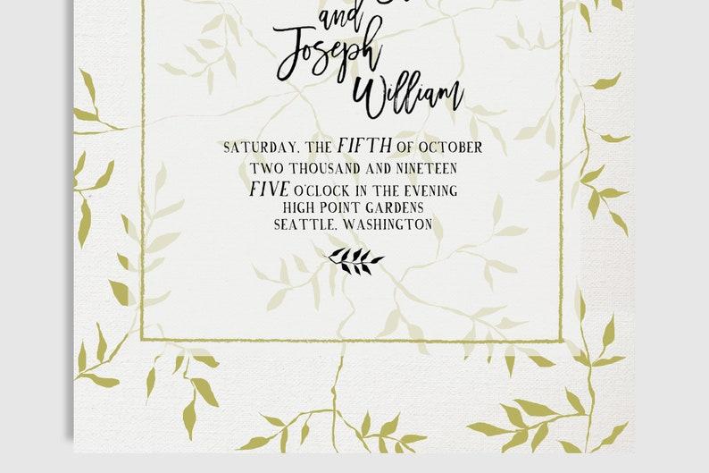 PRINTED INVITES  Vines Wedding Invitation  Vintage Leafy  Greenery Viney  Mustard  Calligraphy  5 x 7