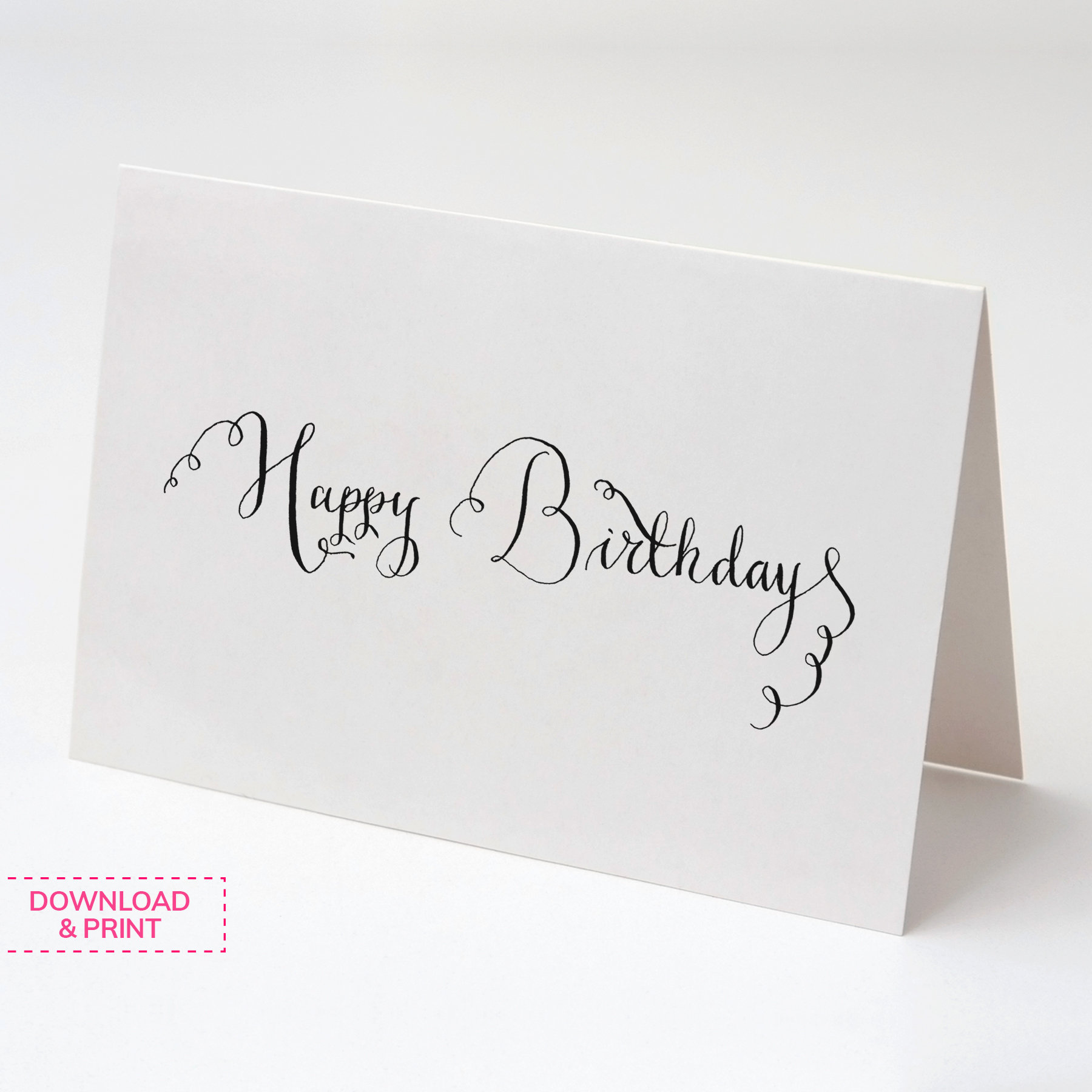 HAPPY BIRTHDAY card, Printable cards, Calligraphy card, Digital download,  Instant download, Fun Printables, Special Greeting cards