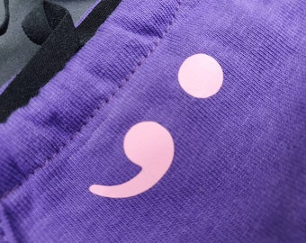 Purple and Pink Semi Colon - Mental Health Awareness Facemask.