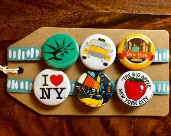New York City / NYC/ Big Apple - Pin Badge Set
