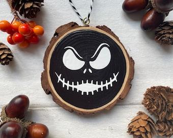 Halloween Log Slice  Hanging Decoration Jack Skellington Nightmare Before Christmas