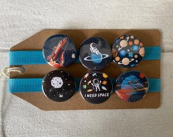Space - Astronaut, Rocket, Planet - Button Pin Badge Set