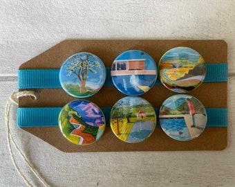 David Hockney - Pop Art - Button Pin Badge Set