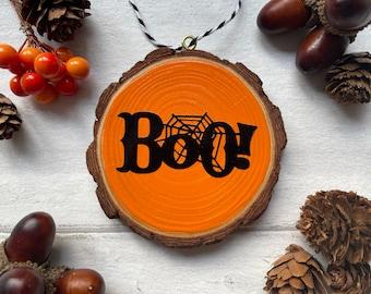 Halloween Log Slice Hanging Decoration - Boo!
