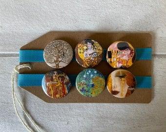 Gustav Klimt Artist - Button Pin Badge Set