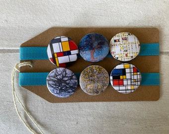 Mondrian Abstract Art - Button Pin Badge Set