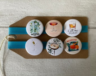 Cocktails - Drinking, Mixology - Button Pin Badge Set
