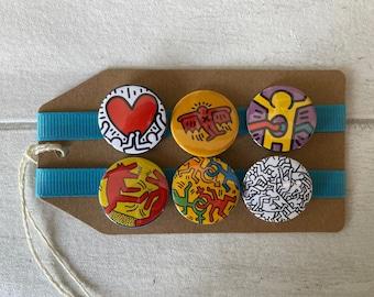 Haring Art - Button Pin Badge Set