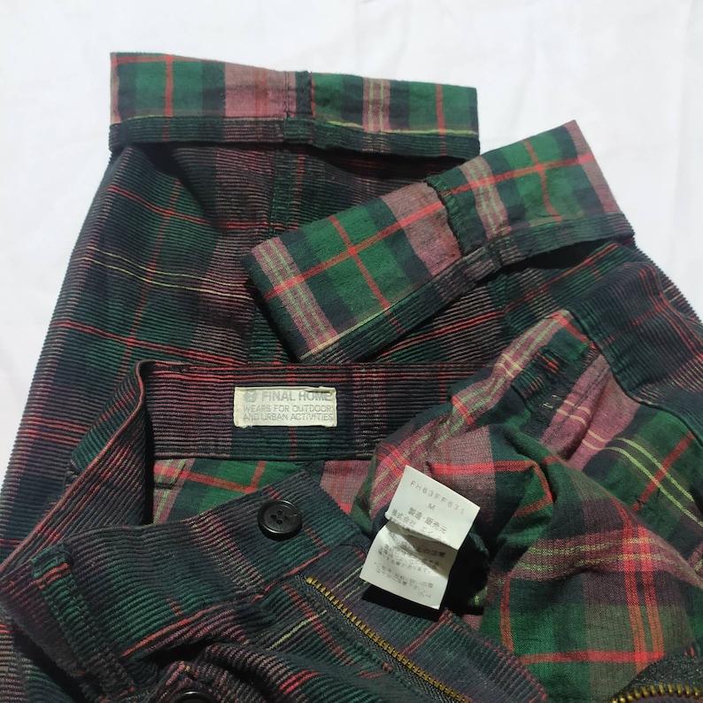 Final home Issey Miyake double knee tartan corduroy pants