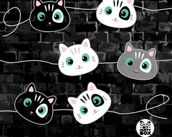 Cat party garland printable  Cat birthday banner  Funny cats banner  Cat party decorations Pretty kitty birthday party Bunting PDF