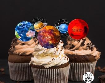 Space cupcake topper Space theme birthday Solar system cupcake topper Space fondant cupcake topper Rocket Birthday space decor