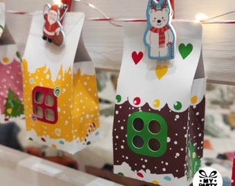 Advent Calendar Printable Christmas Village Gingerbread Houses DIY Paper Houses Home Dеcor Files for cutting Digital Template