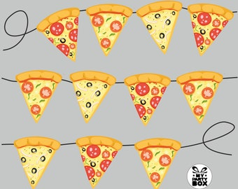 Pizza banner garland TMNT Printable Turtle Party Digital File Pizza Party Printable