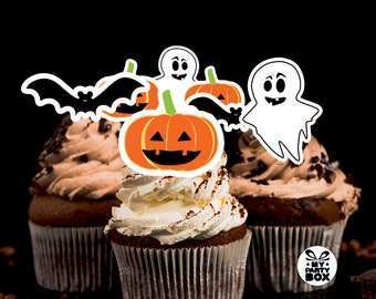 Cupcake topper set Halloween  Silhouette Pumkin Bat  Ghost Candy bar decor Party Supplies Birthday Decorations Printable