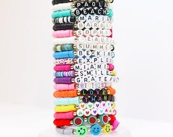 Custom bead name bracelet, rainbow bracelet, toddler bracelet, party gift favor for girls, colorful beach bracelet, waterproof fun bracelet