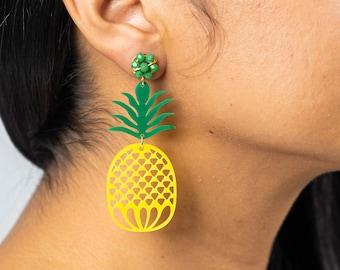 Acrylic pineapple earring,fruit earring,long tassels earrings, laser cut earring,fun earrings,pom pom earrings, trendy earrings
