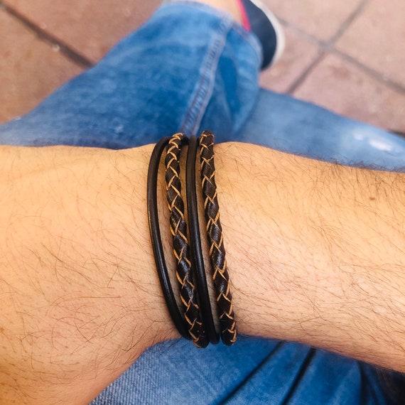 Men leather bracelet woven leather bracelet for men men leather and silver bracelet father son bracelet menbrown leather bracelet