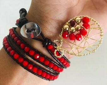 Leather wrap bracelet,red crystal bracelet,boho long bracelet,Red wrap bracelet, beaded bracelet wrap, 3 wrap bracelet for women,red stone