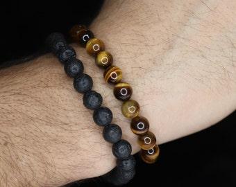 Natural tiger eye bracelet, Lava rock bracelet for men, protective bracelet, couple bracelets, raw stones bracelets, anniversary gift, 8mm