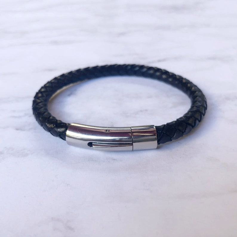 men leather and silver bracelet woven leather bracelet for men father son bracelet menbrown leather bracelet Men leather bracelet