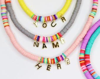 Custom Polymer beaded name necklace,fun bead,beach necklace,summer necklace,waterproof necklace,colorful beach necklace,rainbow fun necklace
